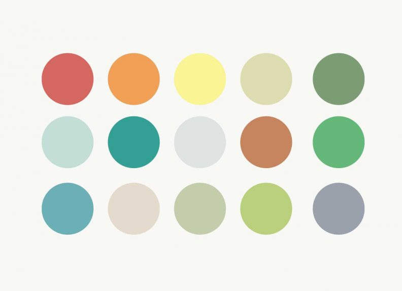 Fifteen circles of different colours.